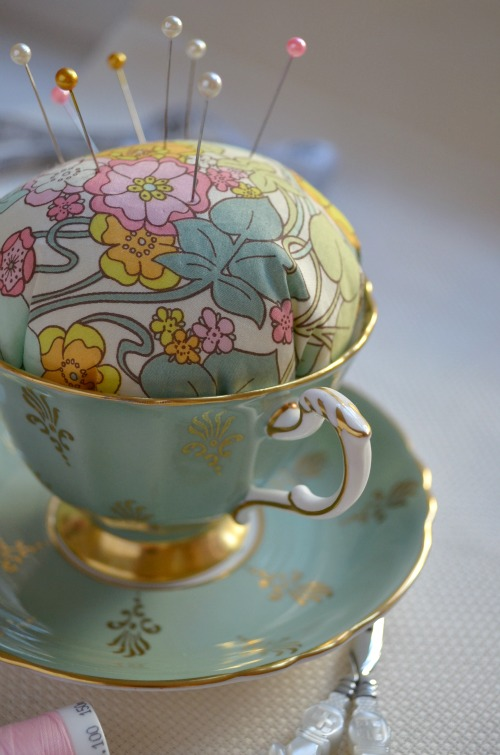 Teacup Pincushion from Pins and Needles